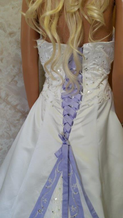 white and orchid wedding gown