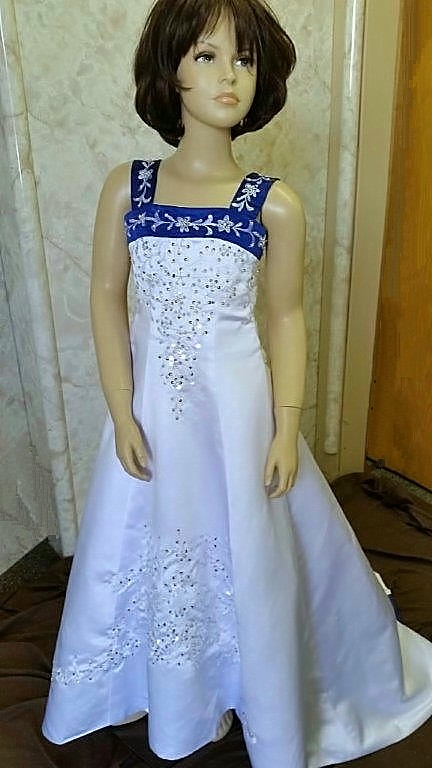 white and royal blue flower girl dress