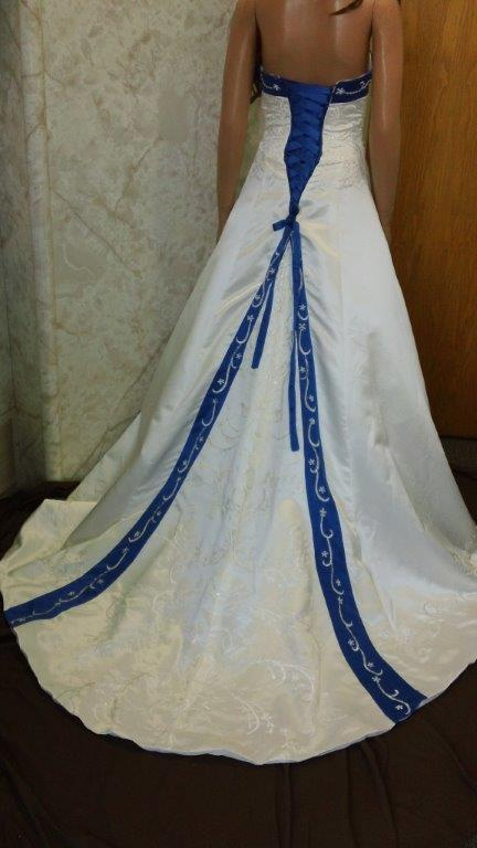 ivory and royal blue wedding dress