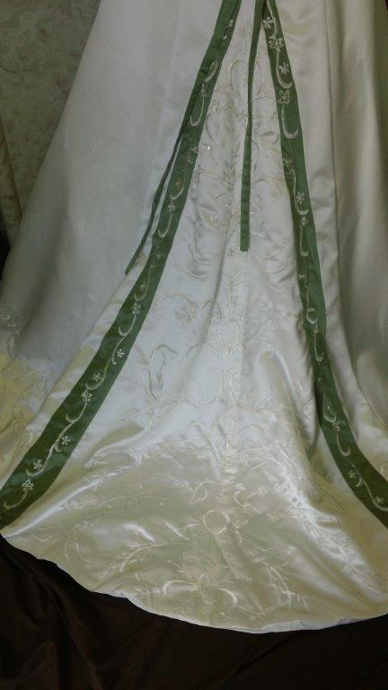 Ivory dress with sage green trim