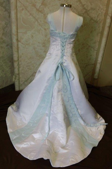 white and baby blue miniature bridal gowns with color