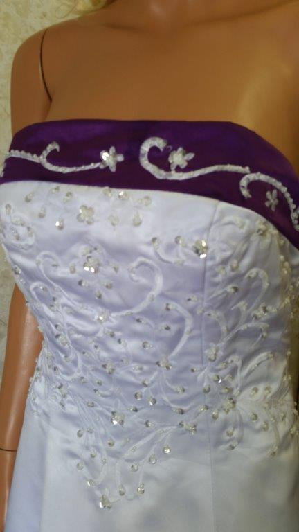 white royal purple wedding gown