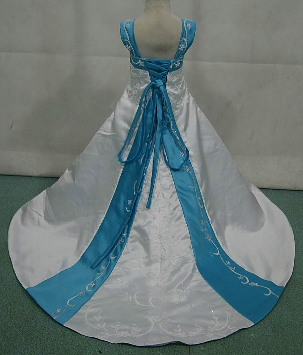 white and pool blue miniature wedding gown with corset lace up back