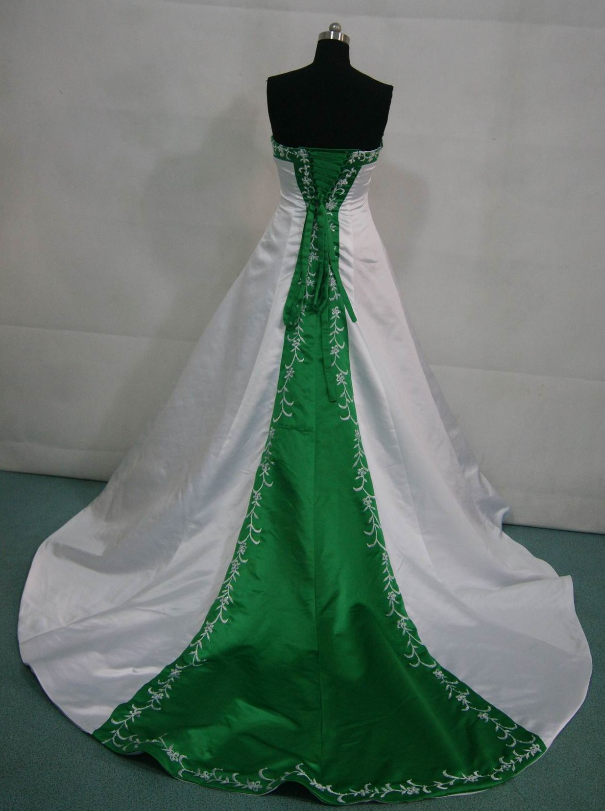 white and green wedding gown