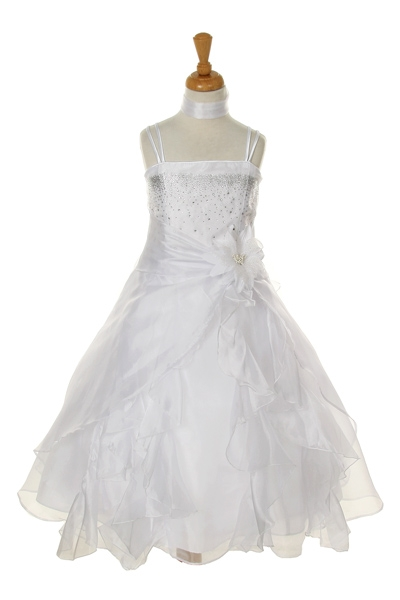 white childrens organza long ruffle dress