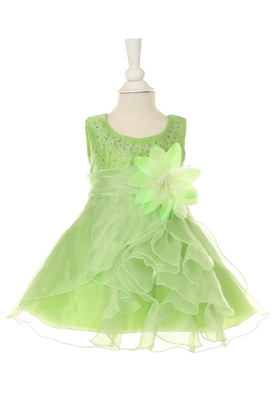lime infant pickup side ruffle dress