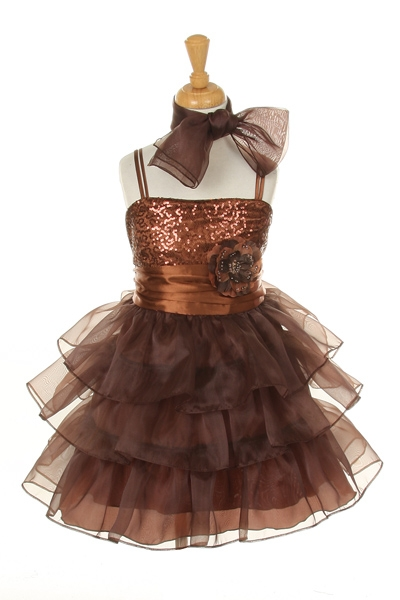 moca brown ruffle dresses