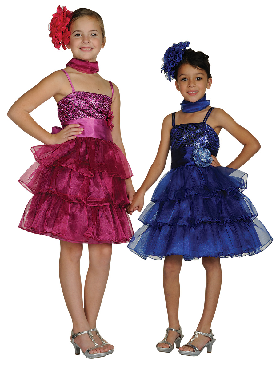 raspberry and blue ruffle layer dresses