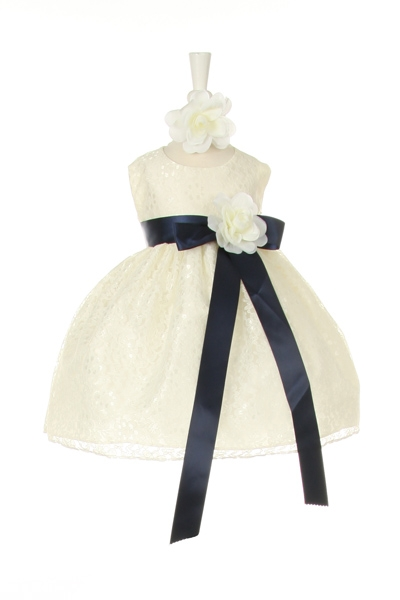 ivory lace dress with navy sash