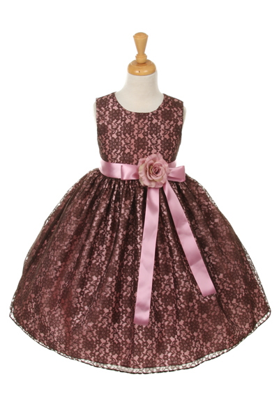girls brown lace dresses