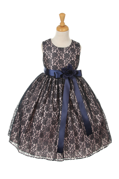 girls navy lace dresses