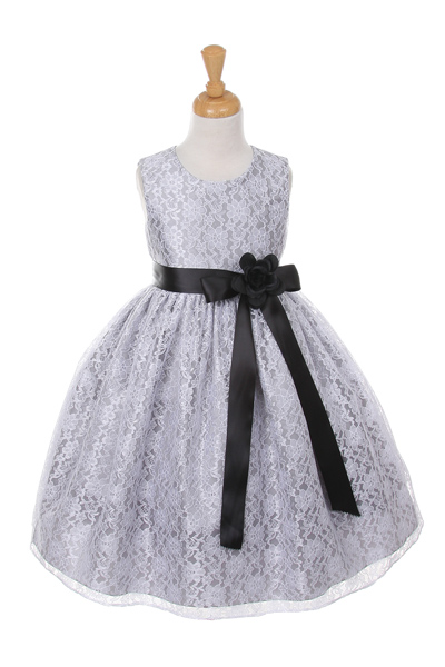 girls silver lace Christmas dresses
