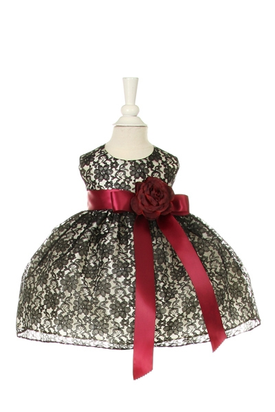 black lace dress with wine sash