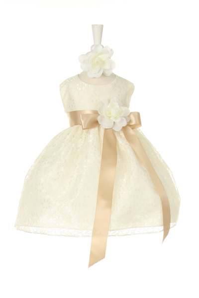 ivory dress with champagne sash