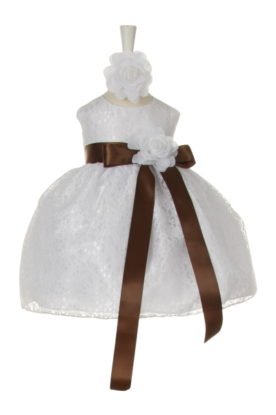 white lace dress with brown sash