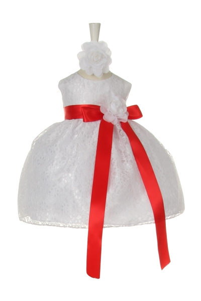 white dress with red sash