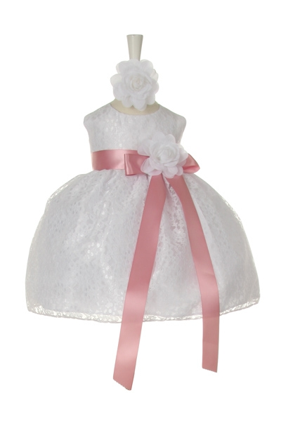 lace infant dress with rose sash