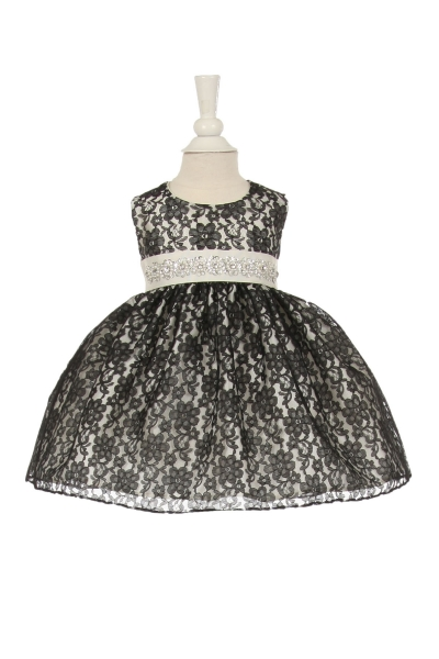 infant and girls black and ivory lace dress