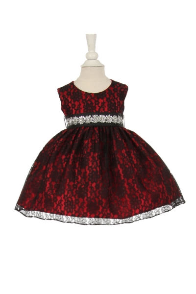 infant and girls black and red lace dress