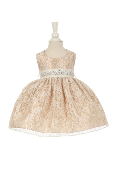 infant and girls champagne lace dress