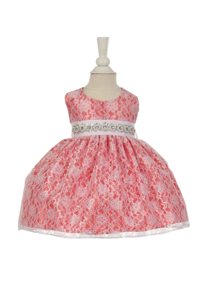infant and girls coral lace dress
