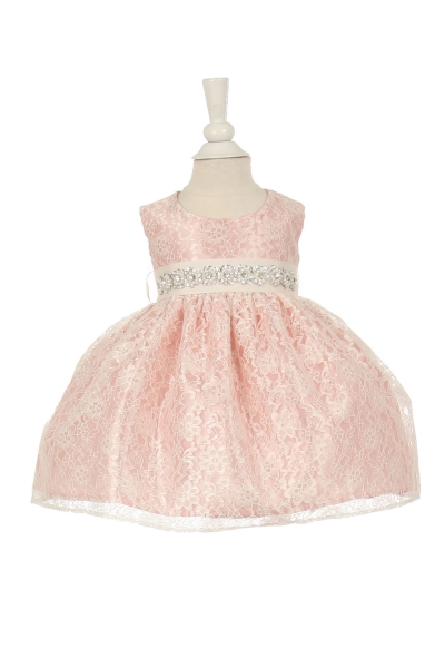 infant and girls dusty rose lace dress