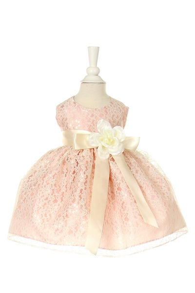 lace peach rose dress with ivory ribbon sash