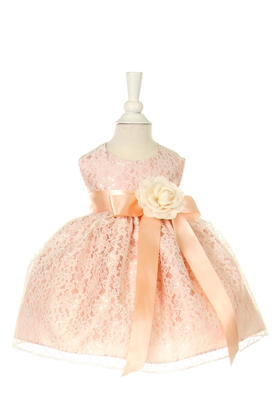 lace peach dress with ivory ribbon sash