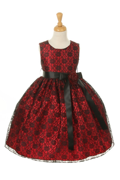 girls red black lace dresses