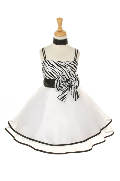 White and black Zebra Print Dresses For Kids