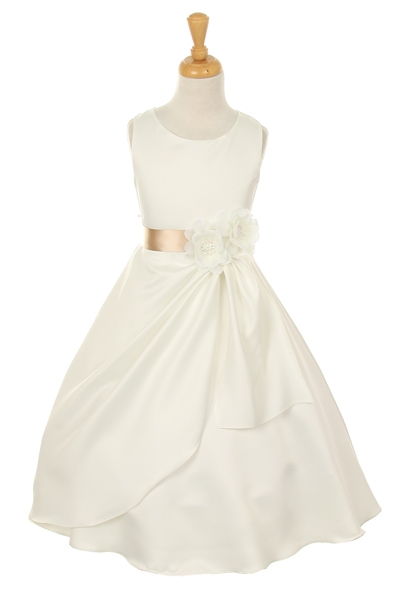 ivory flower girl dress with champagne flower sash