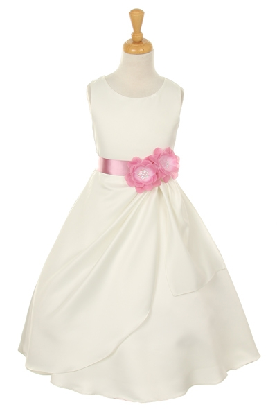 ivory flower girl dress with dusty rose flower sash