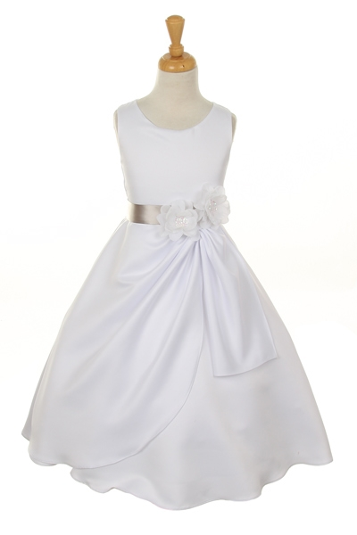 white dress with silver flower sash