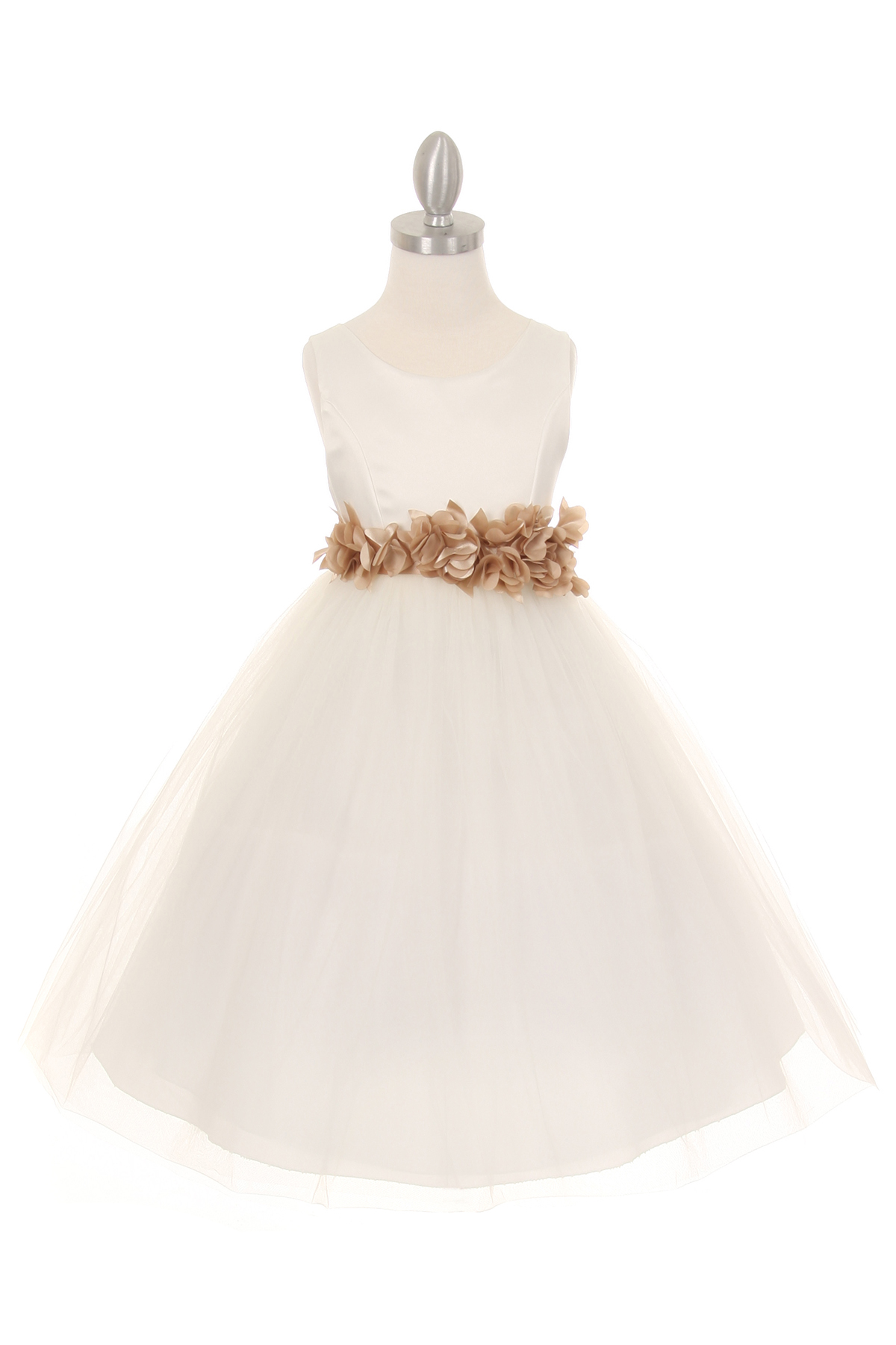 ivory dress with champagne flower sash