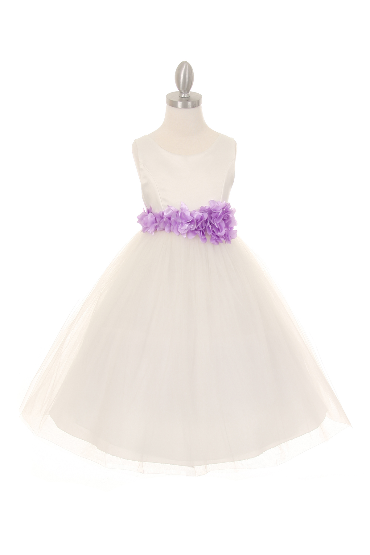 ivory dress with lavender flower sash