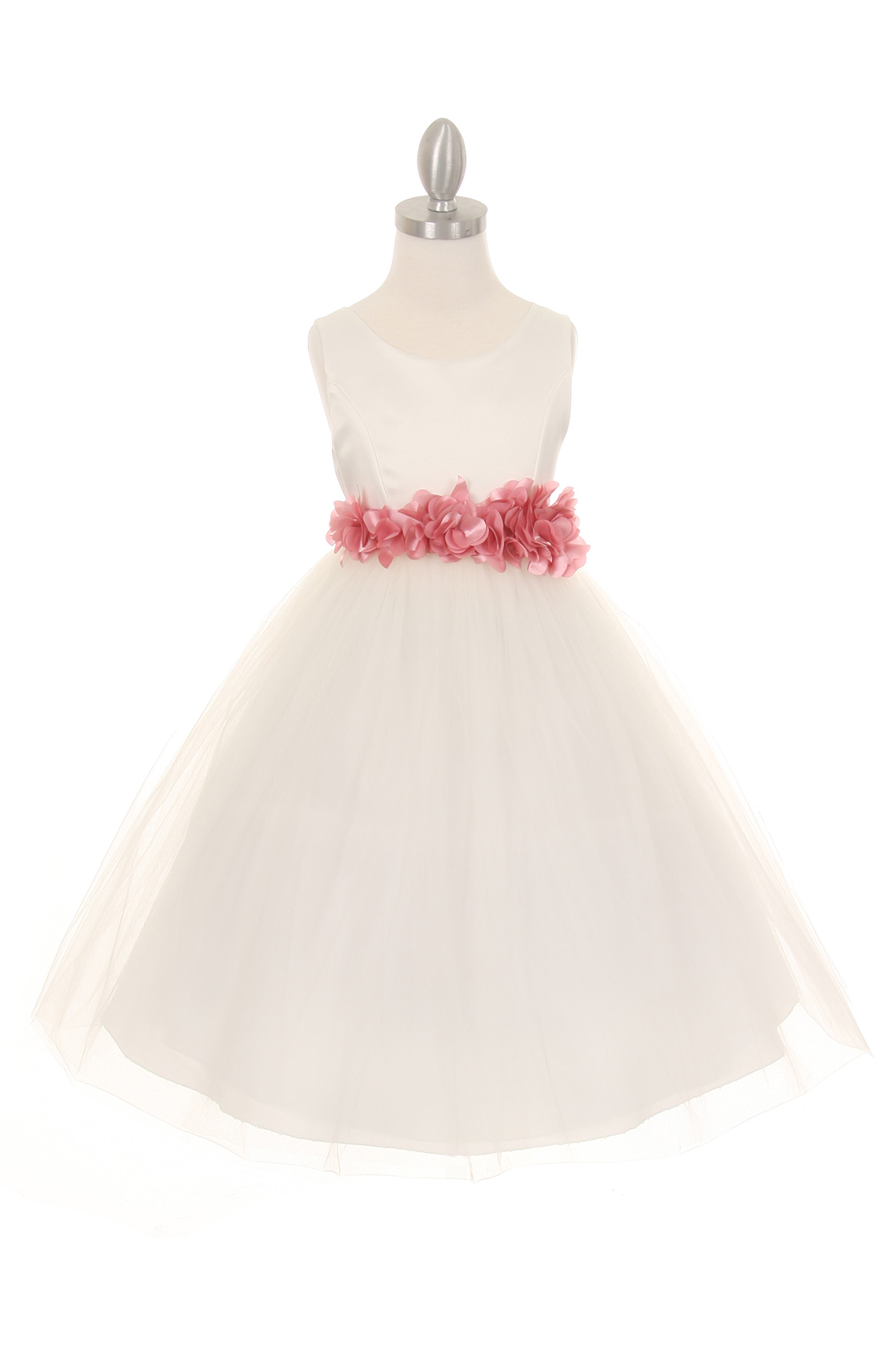 ivory dress with dusty rose flower sash