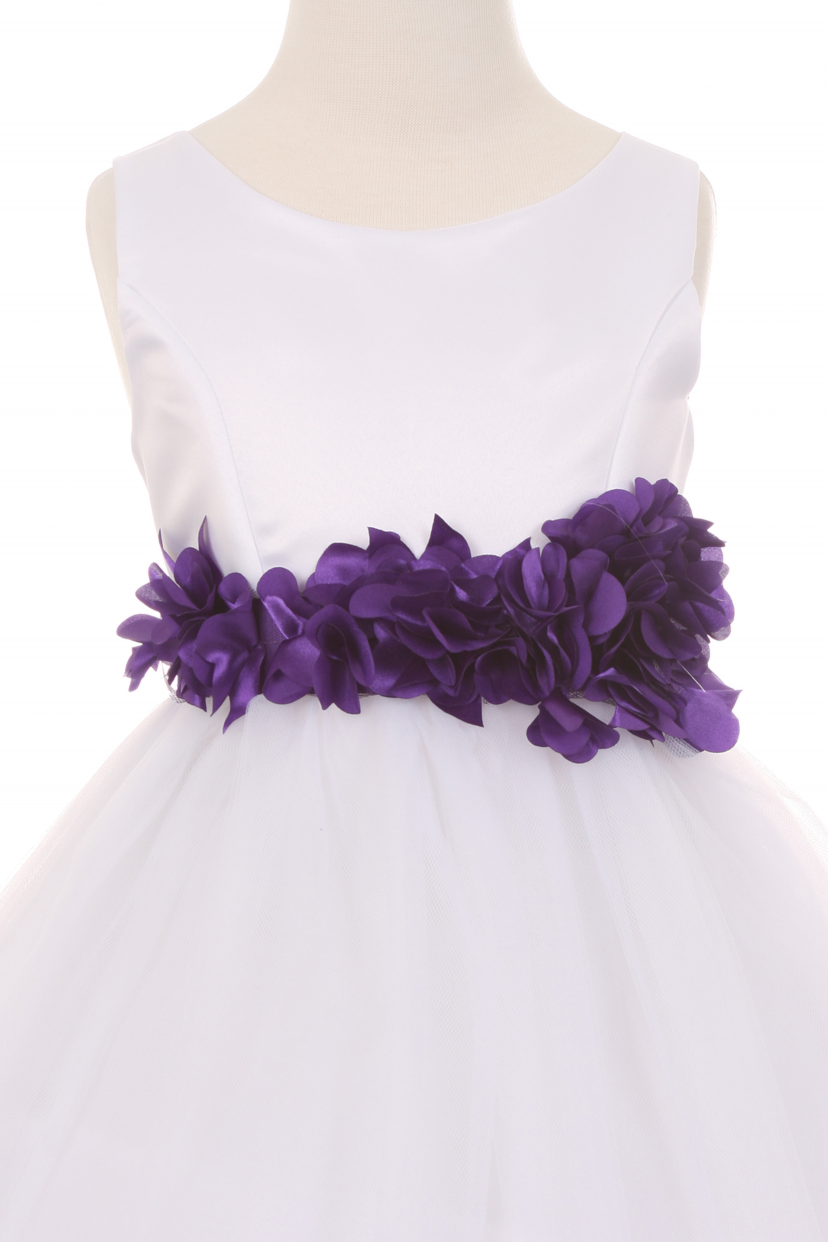 white dress with flower sash