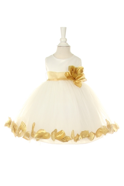 gold petal dress for infants toddlers and girls