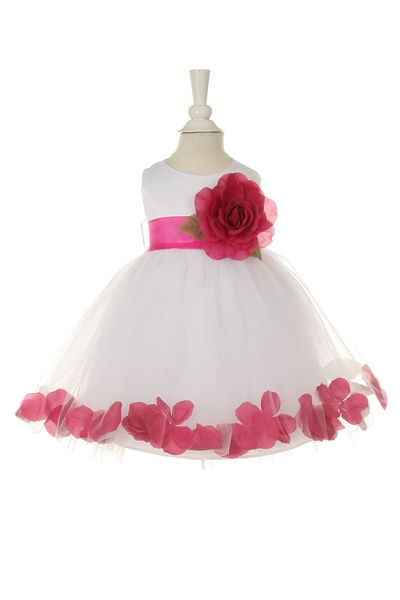 fuchsia flower girl petal dresses