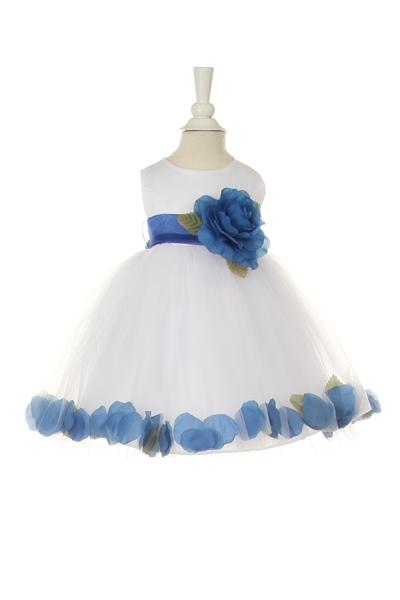 white baby flower girl dress with royal blue petals and sash