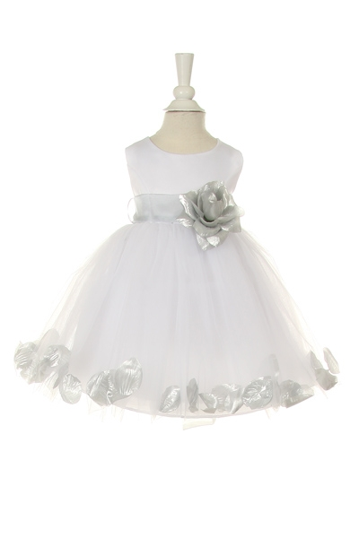 white baby flower girl dress with silver petals and sash