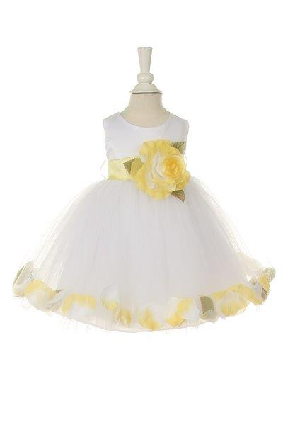 white dress with yellow petals