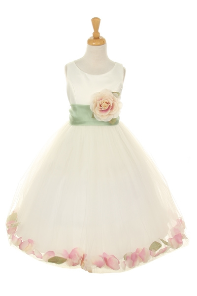peach and sage petal dress flower girl