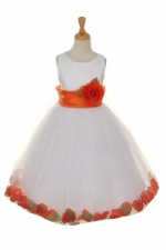 white flower girl dress with orange petals and sash
