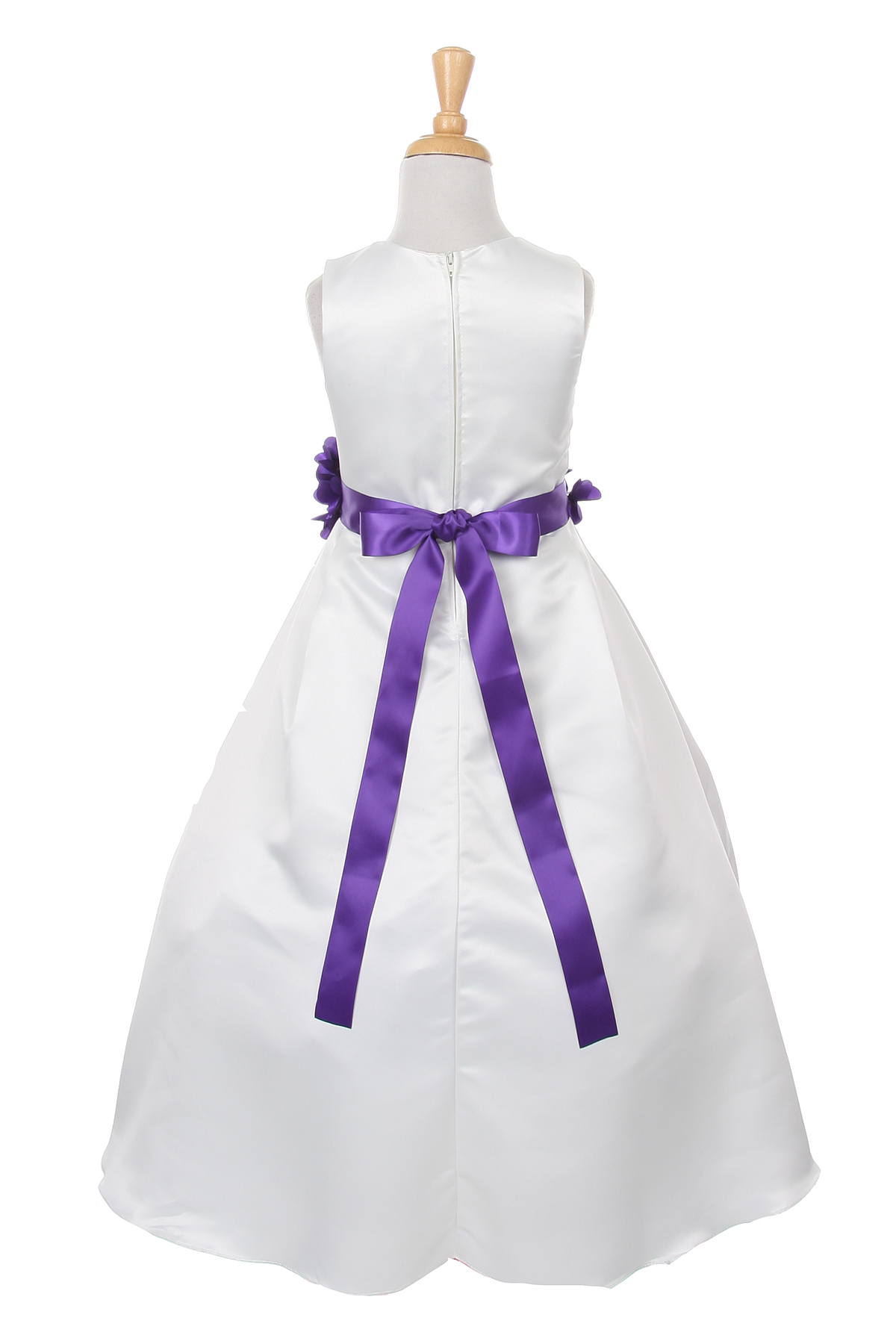 ivory dress with purple flower sash
