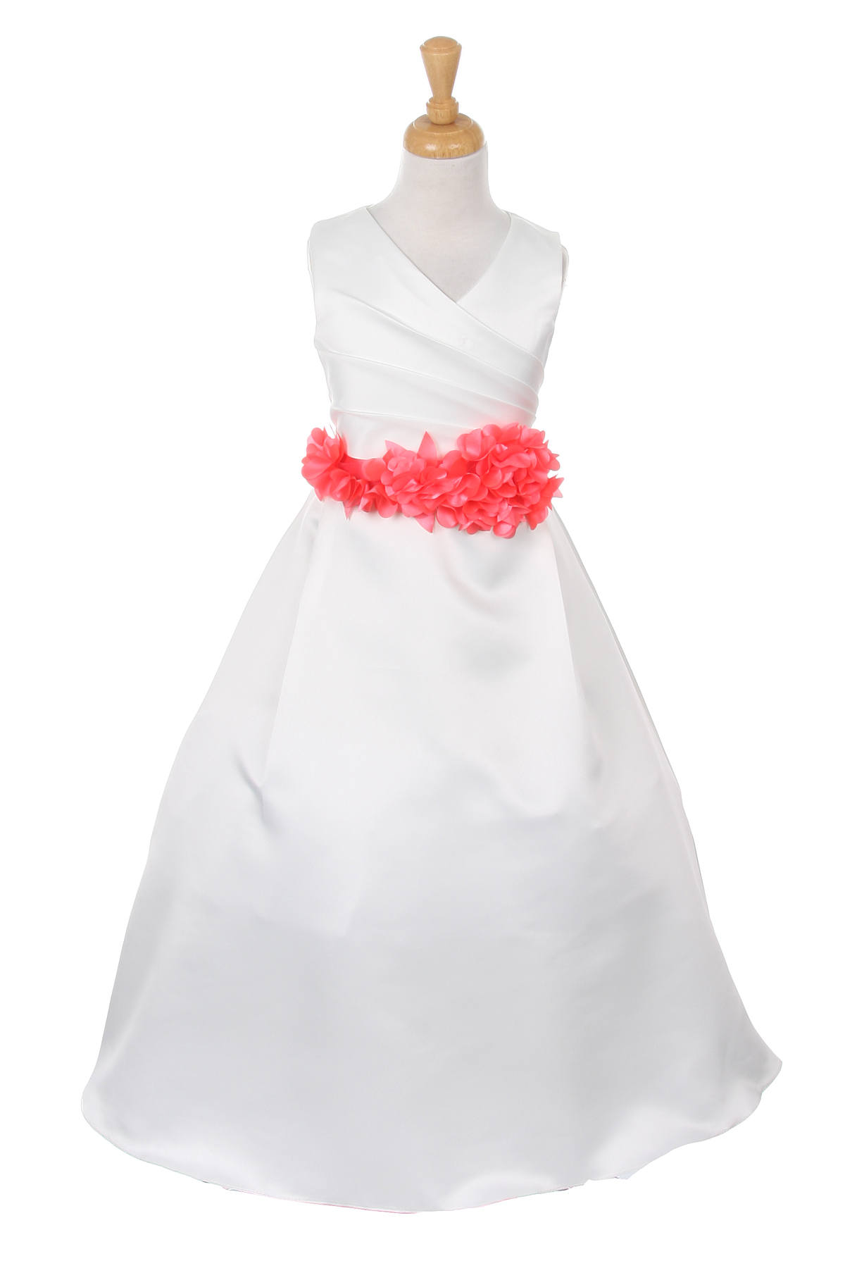 ivory dress with coral flower sash