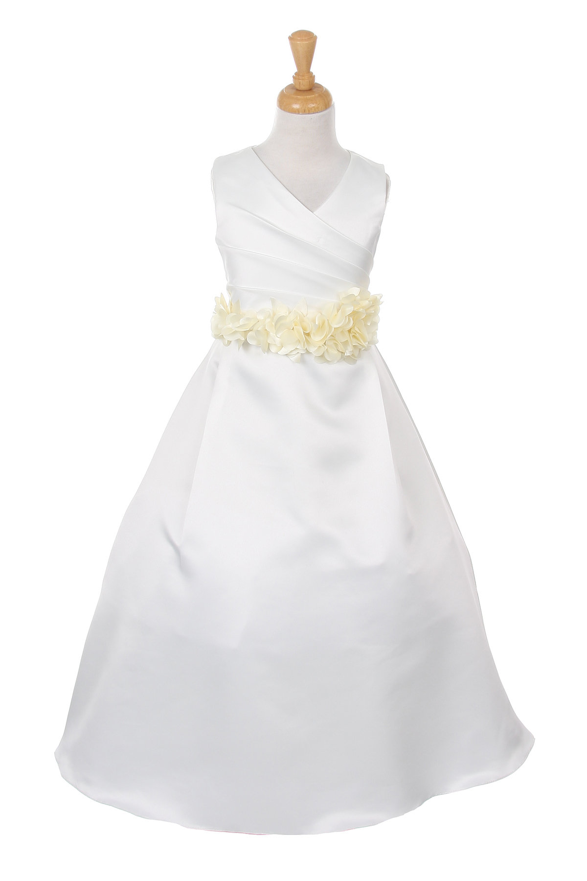 ivory dress with ivory flower sash