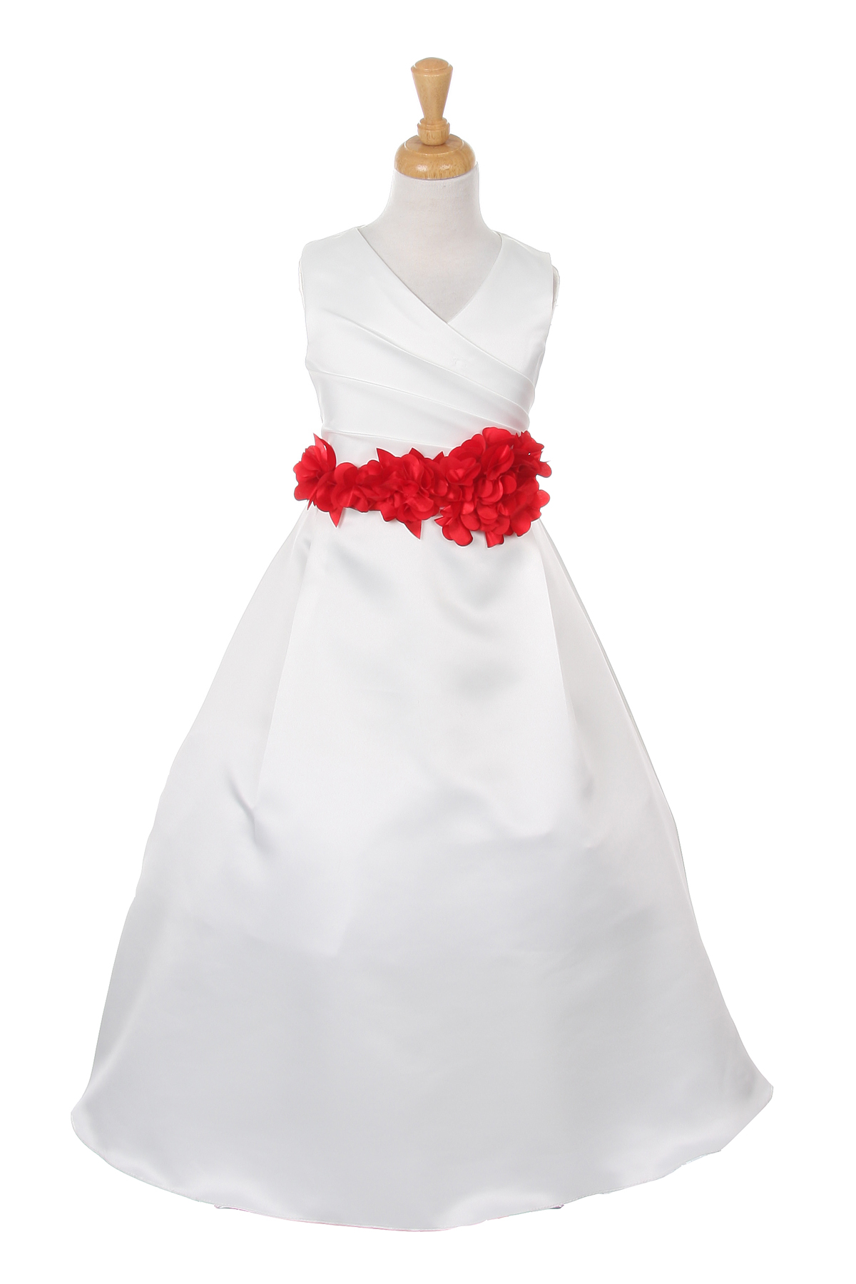 ivory dress with red flower sash