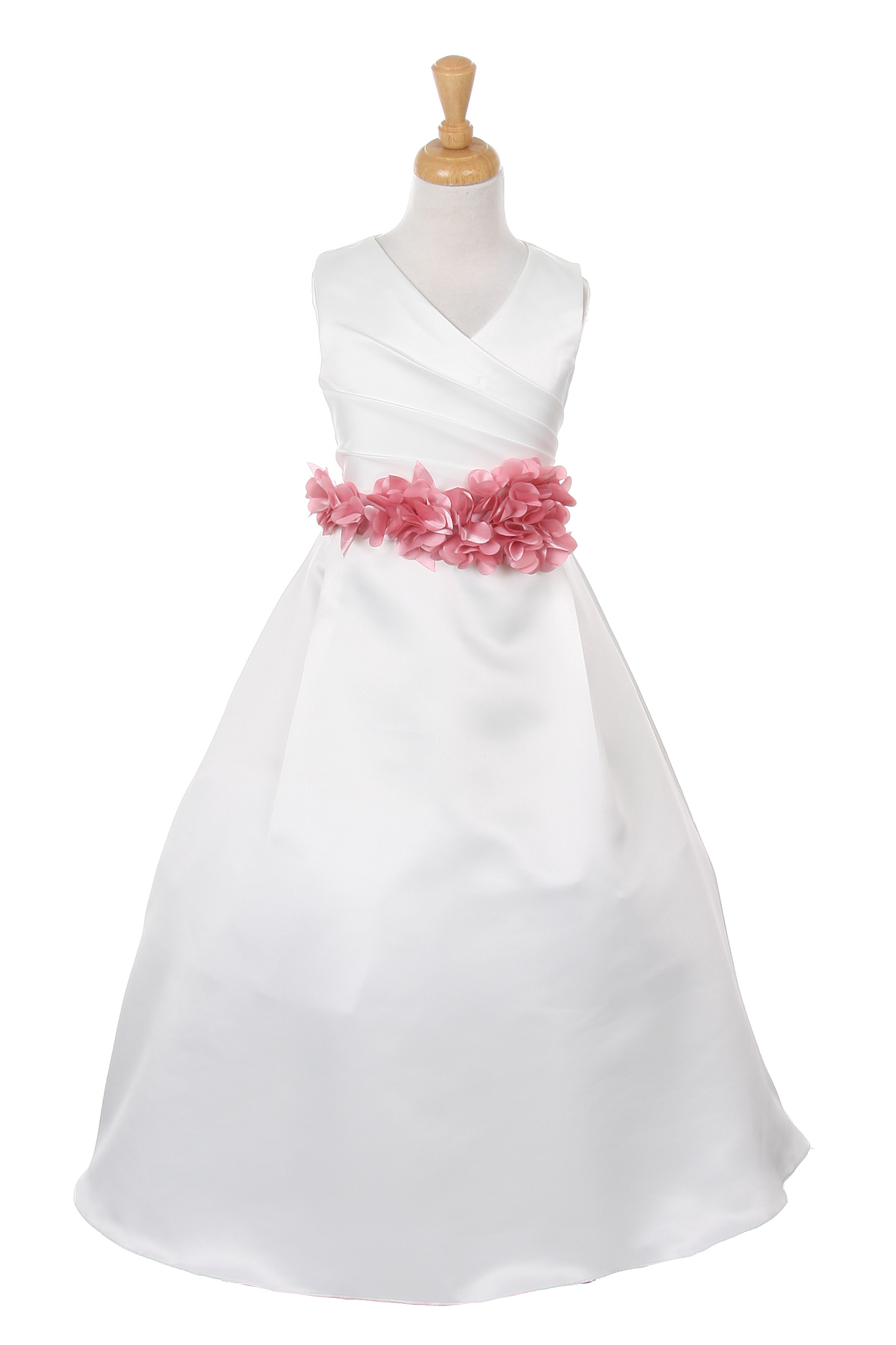 ivory dress with rose flower sash