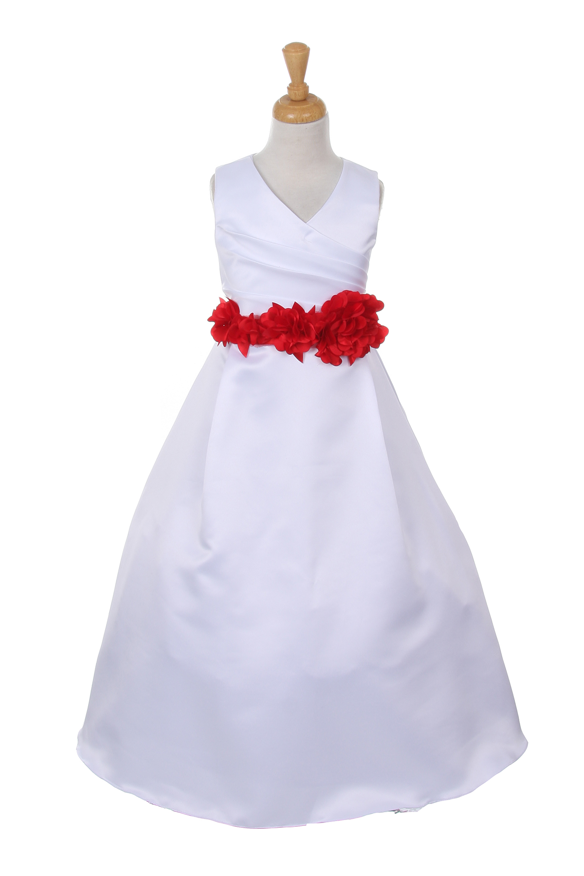 white dress with red flower sash